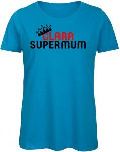 Blaues T-Shirt für Frauen/Damen mit Rotem und Schwarzem Druck