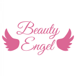 Beauty Engel Schriftzug mit zwei Rosa Flügel