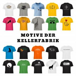 Verschieden T-Shirts mit Motiven der KellerFabrik