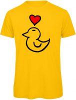 T-Shirt in Gelb. Enten Motiv mit Herz drauf gedruckt.